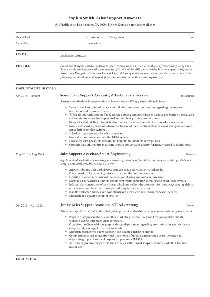 sales support associate resume  u0026 writing guide
