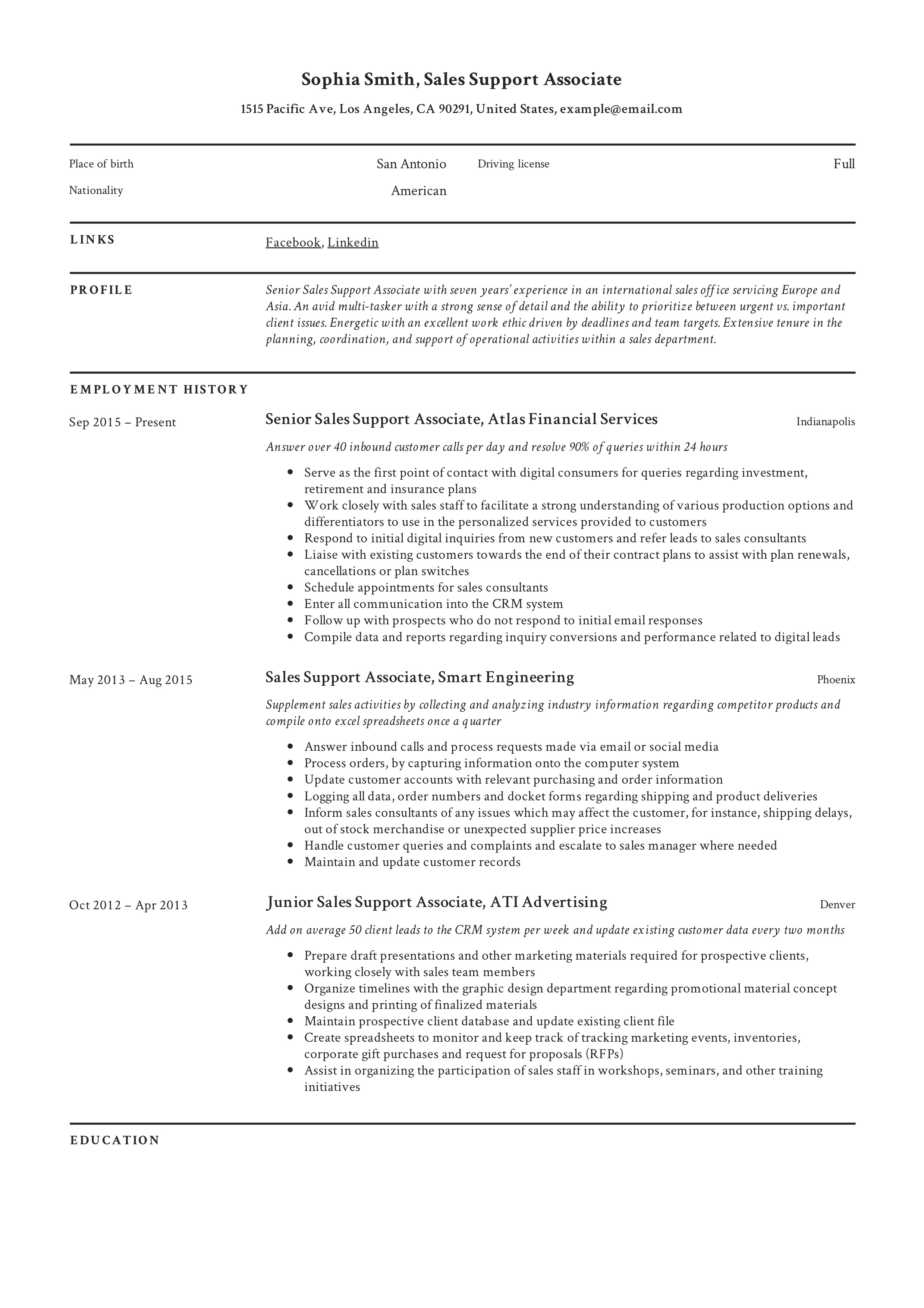 Sales SupportSales Support Associate Resume