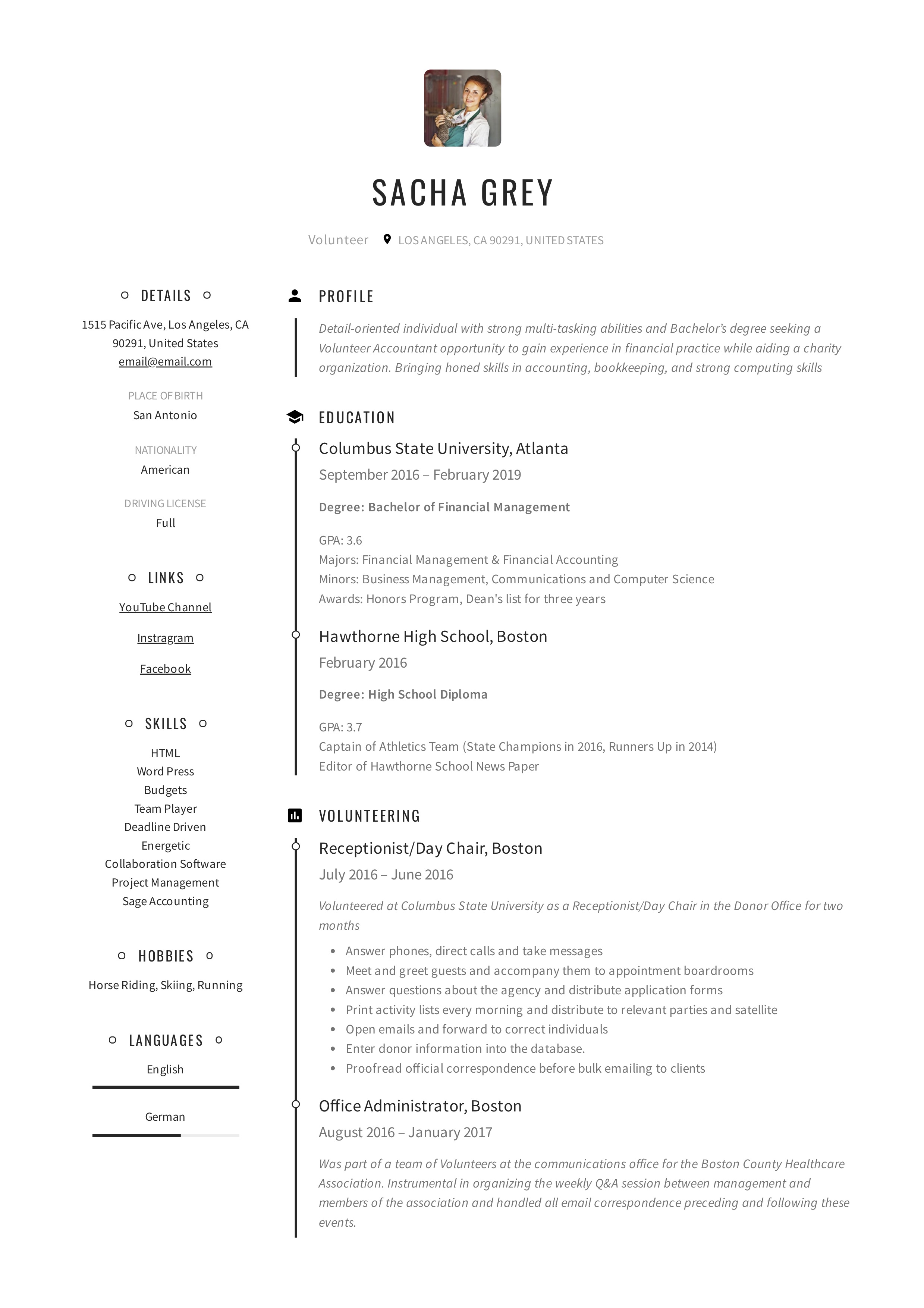 Volunteer Resume Sample Writing Guide Pdf S 2019