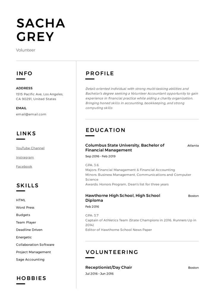 Modern Resume Design Volunteer