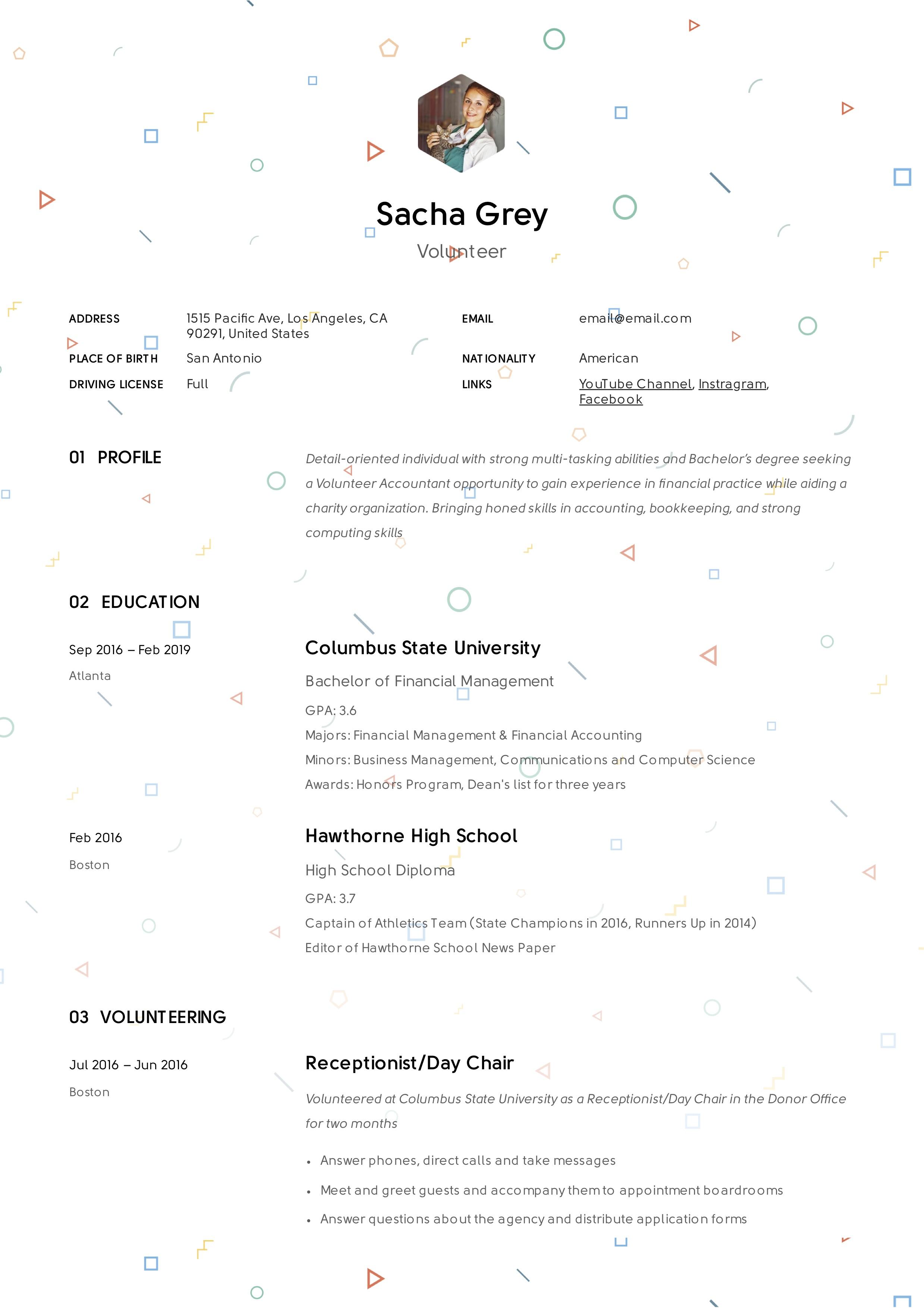 Creative Volunteer Resume