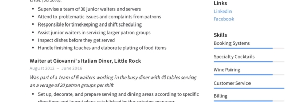 Waiter Resume Writing Guide 12 Samples Pdf 2019