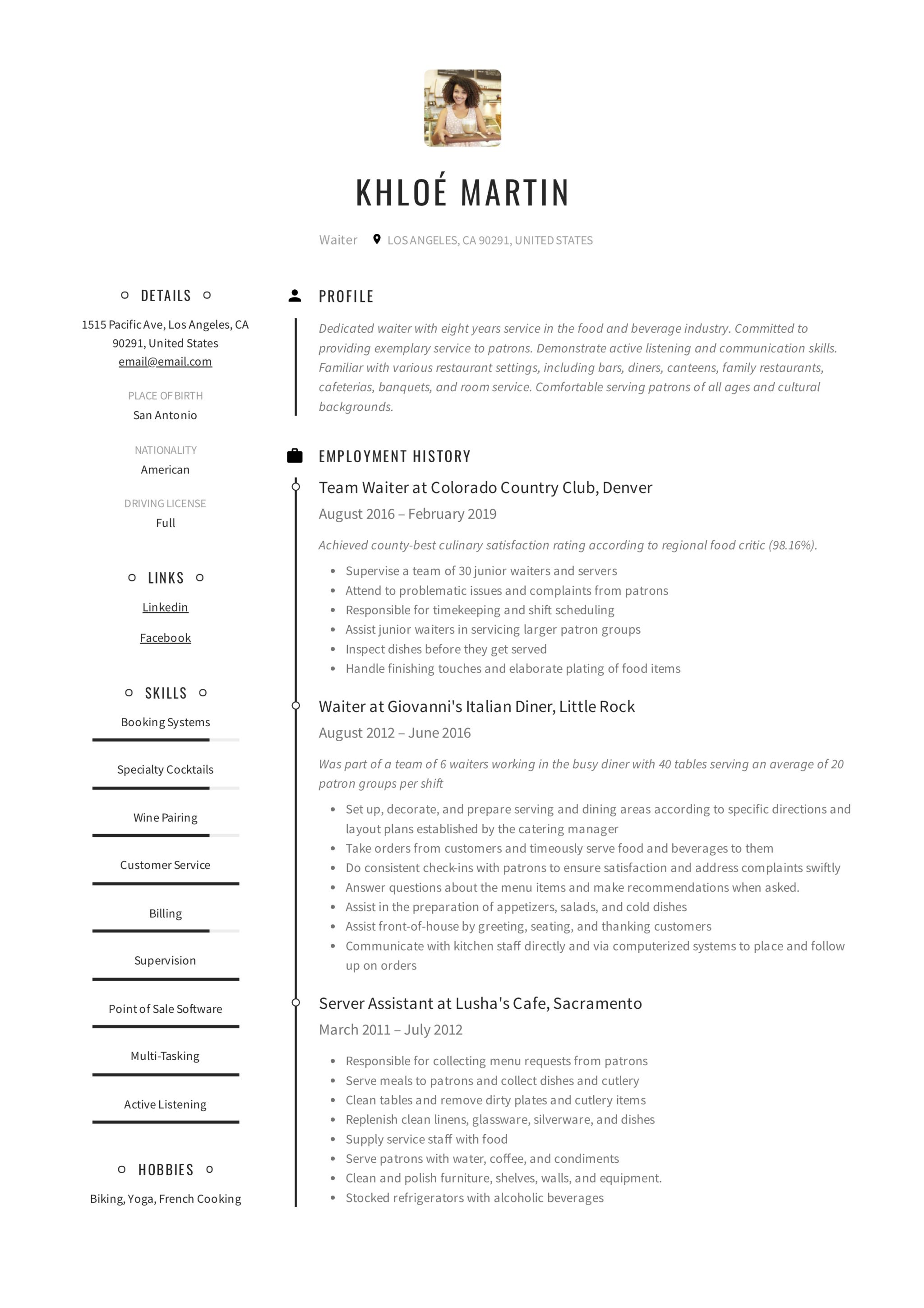 Waiter Design Resume Example Creative
