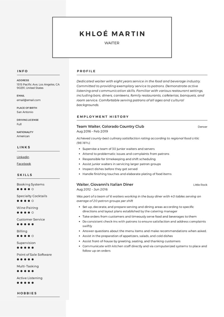waiter resume  u0026 writing guide
