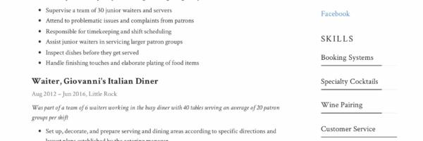 Waiter Resume & Writing Guide   + 12 Samples   PDF   2019