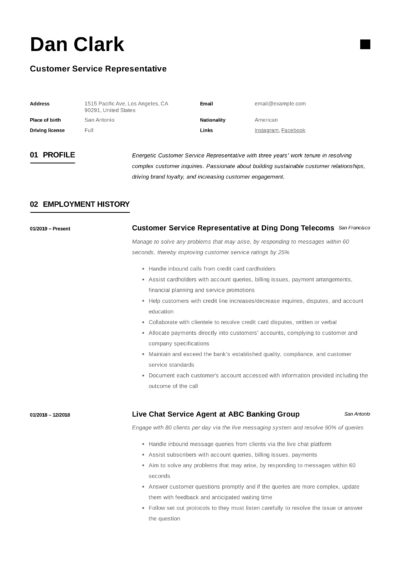 Customer Service Representative Sample Resume