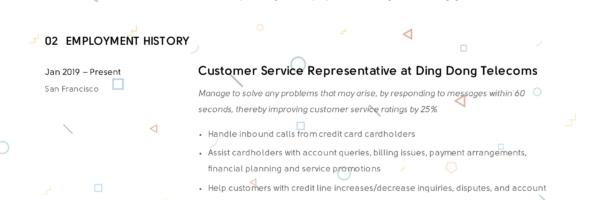 Template Resume Modern Customer Service Representative CV