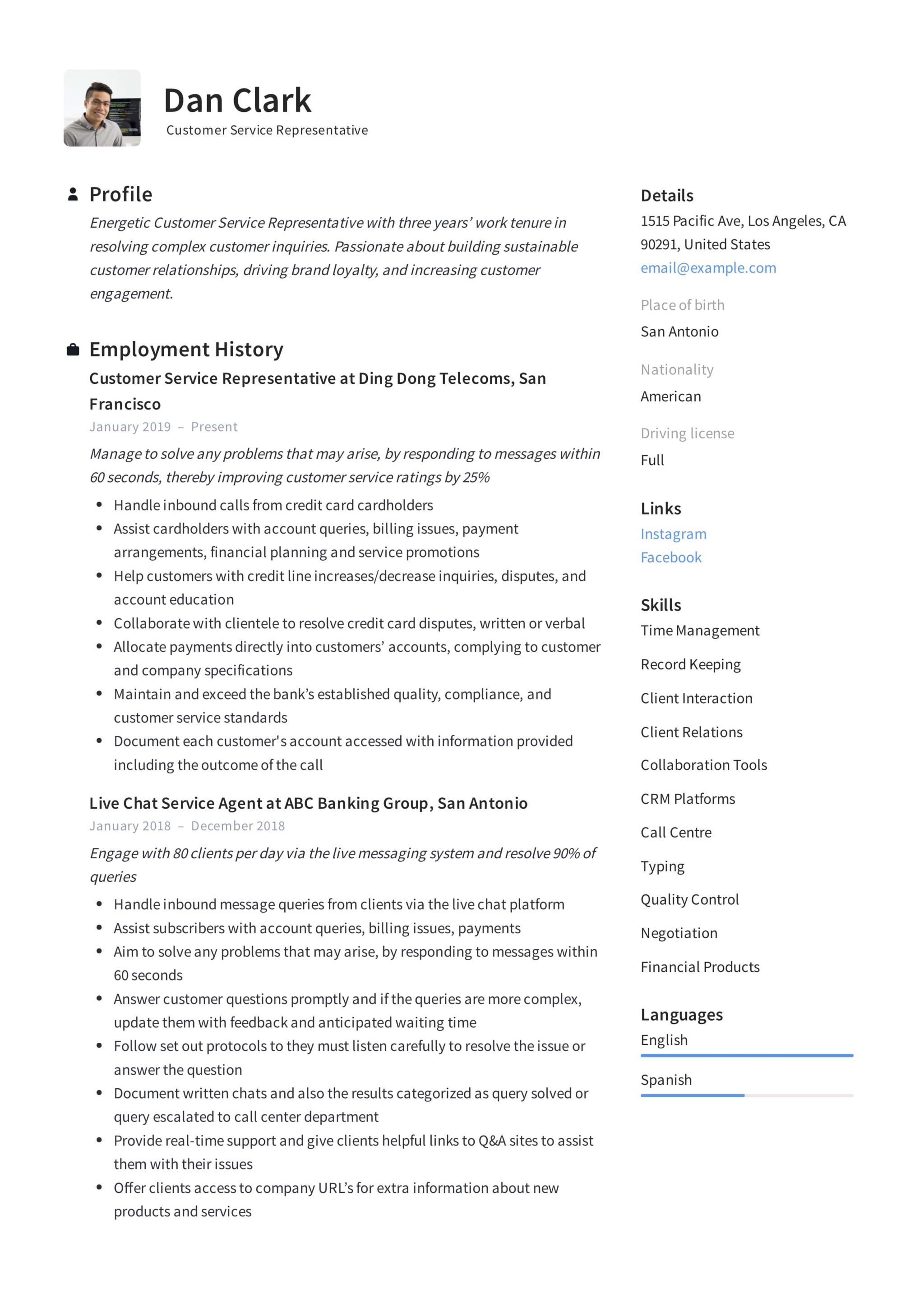 How to: Customer Service Representative Resume & + 12 PDF ...