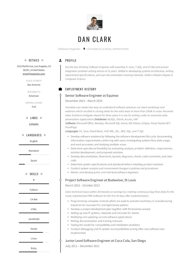 Timeline Resume Example Software Engineer