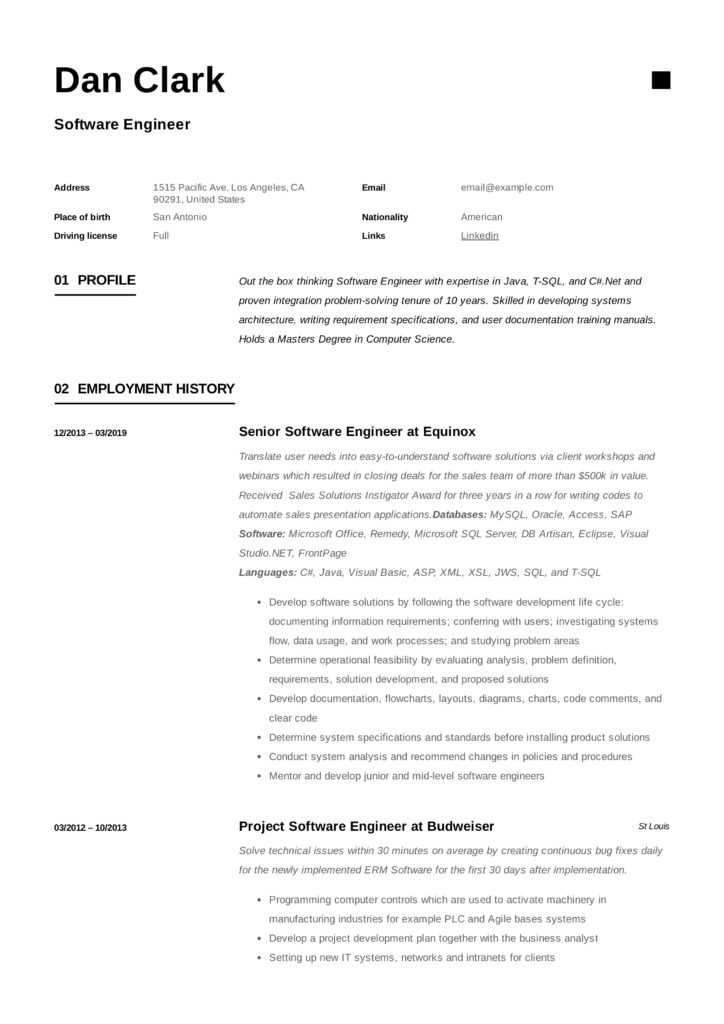 Software Engineer Resume Writing Guide