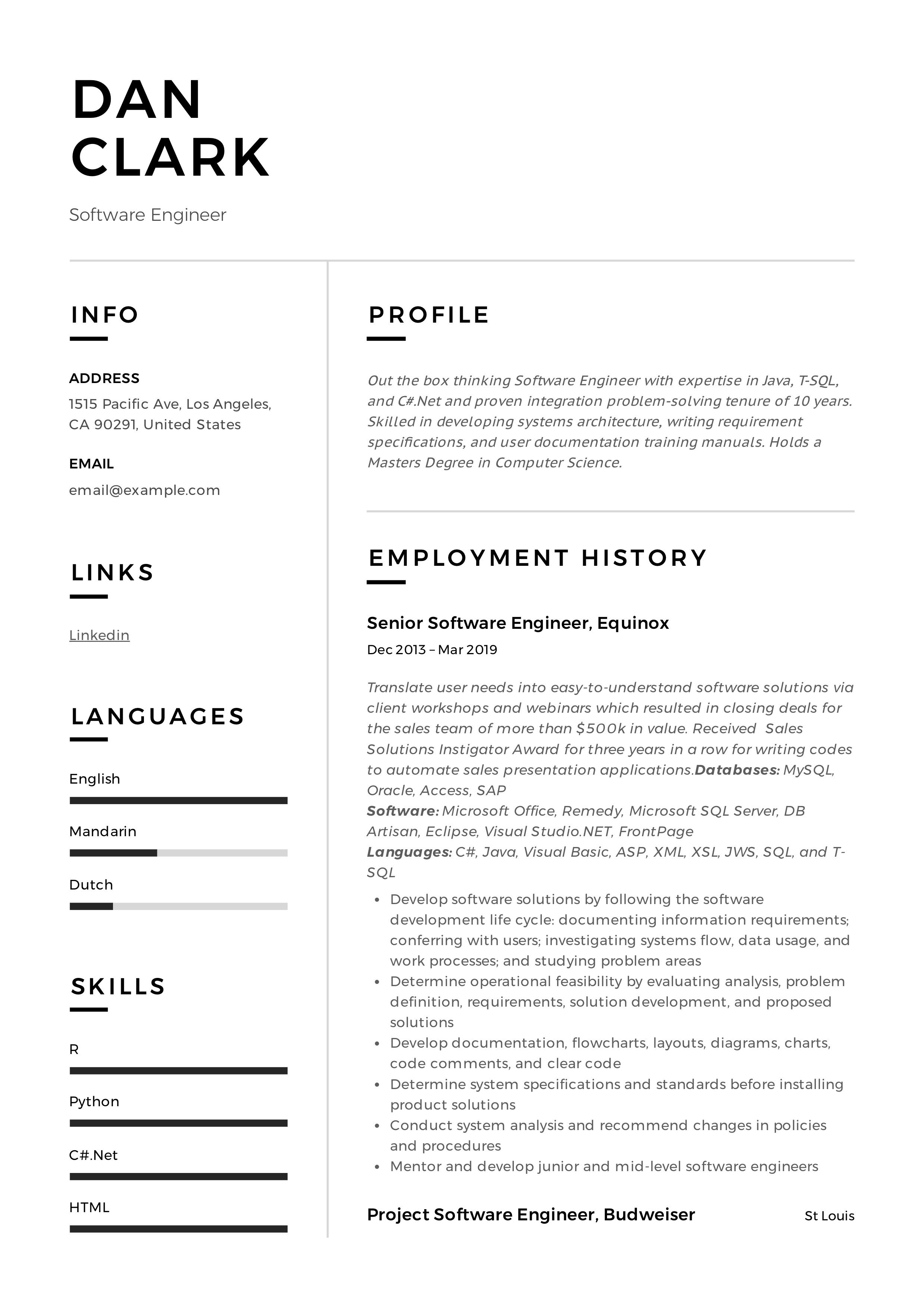 Software Engineer Modern Resume