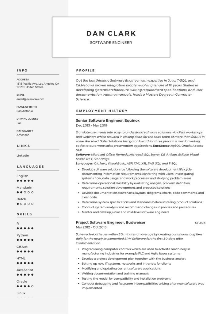 Modern and Classic Software Engineer Design Resume