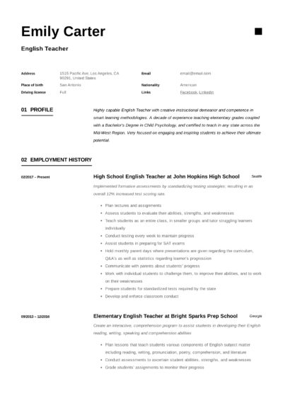 Modern Design Example Resume English Teacher