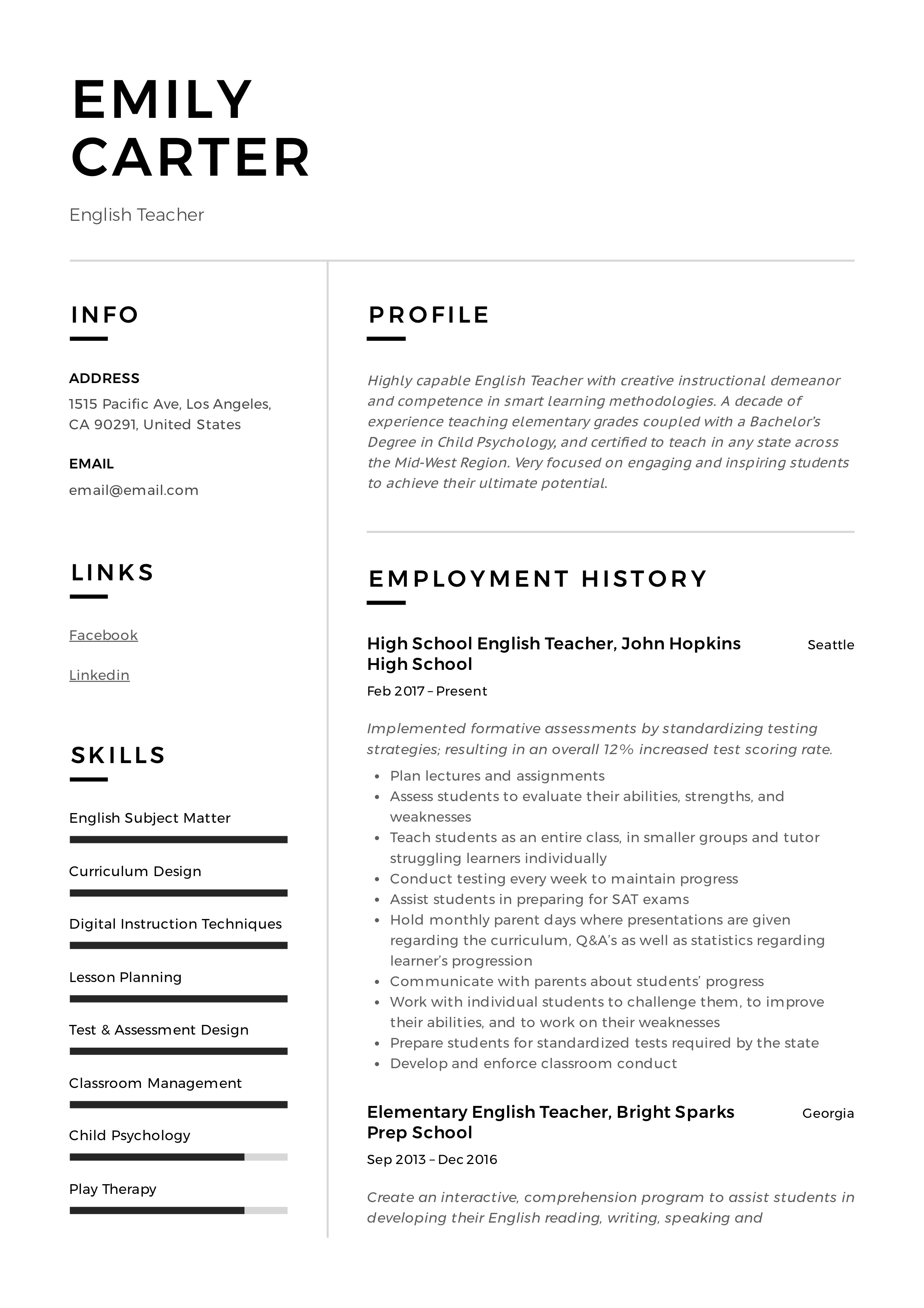 English Teacher Resume Sample Amp Writing Guide