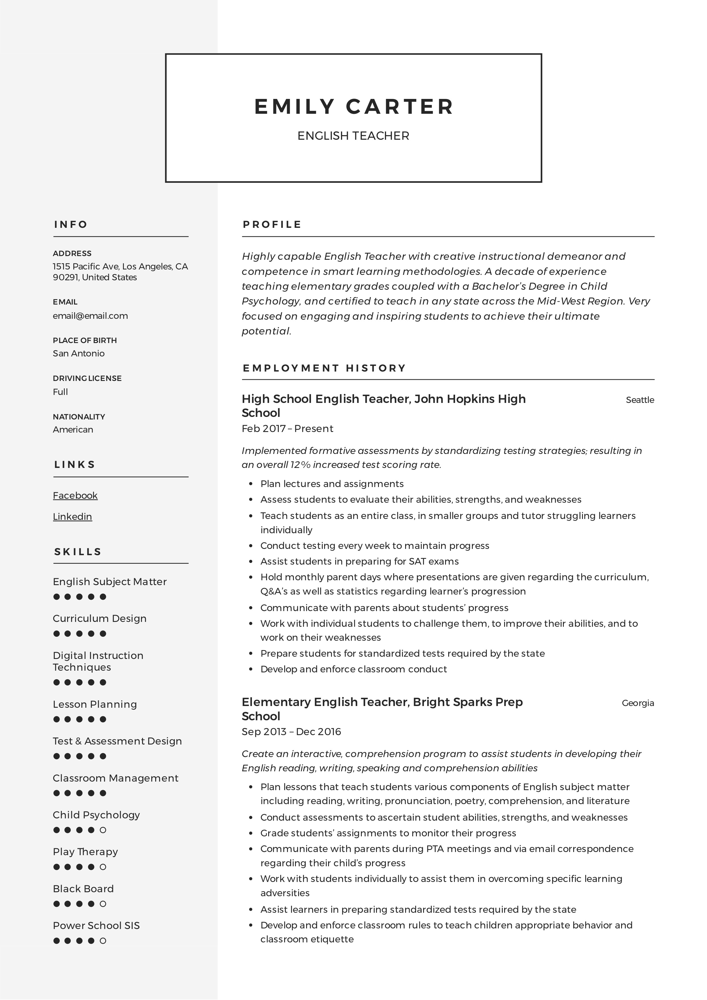 english teacher resume sample  u0026 writing guide