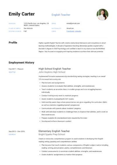 English Teacher Template Resume