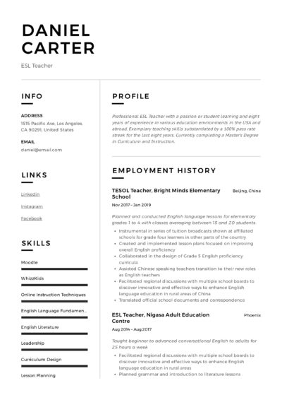 Example ESL Teacher Resume
