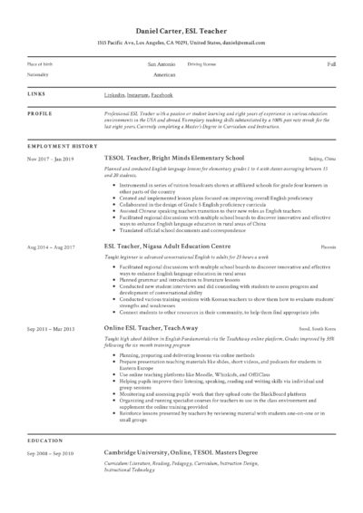 Modern classic resume ESL Teacher