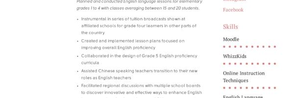 ESL Teacher Resume Sample Writing Guide