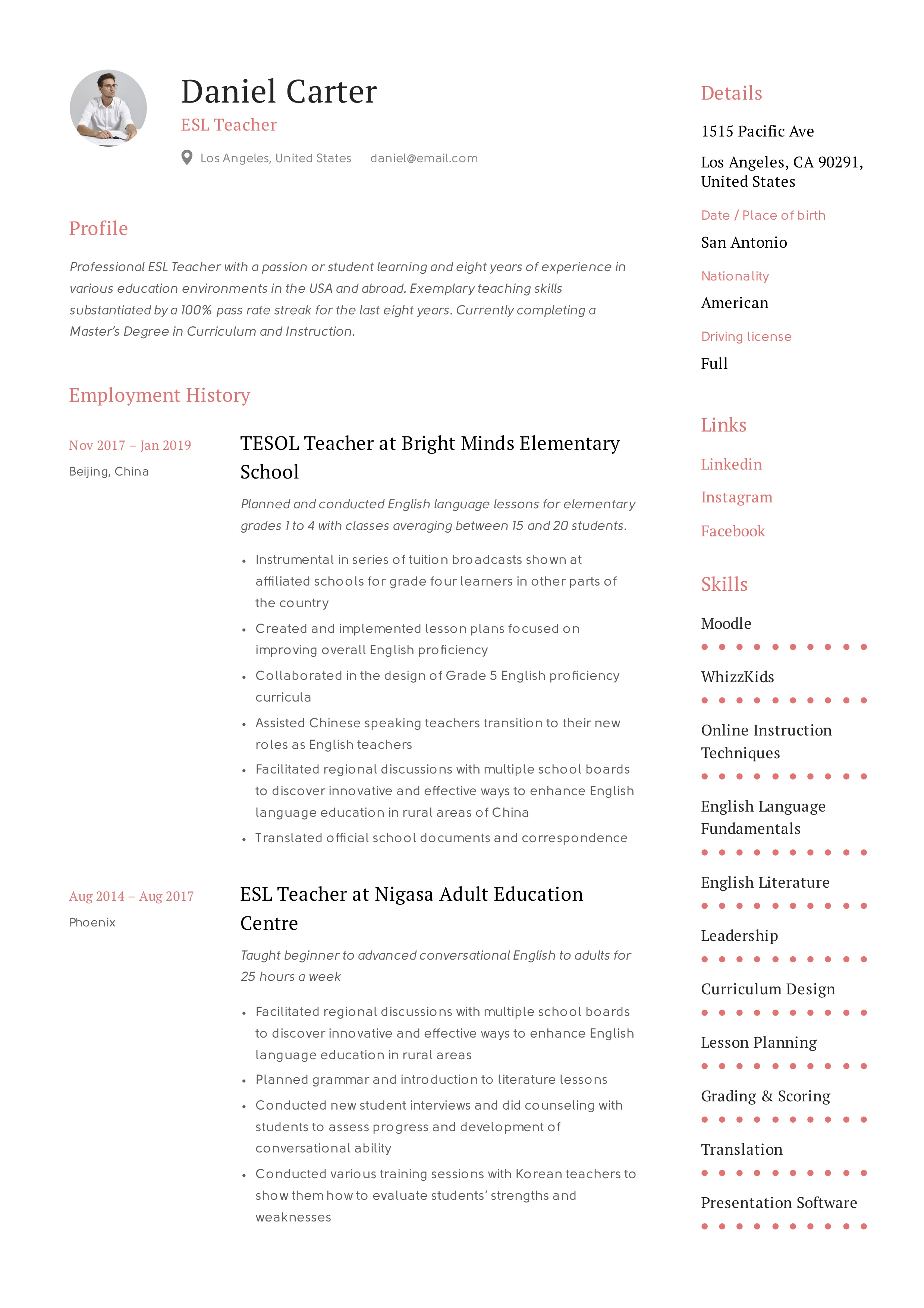 resume language skills section