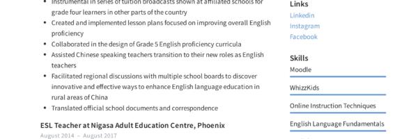 ESL Teacher Resume Sample & Writing Guide | Resumeviking com