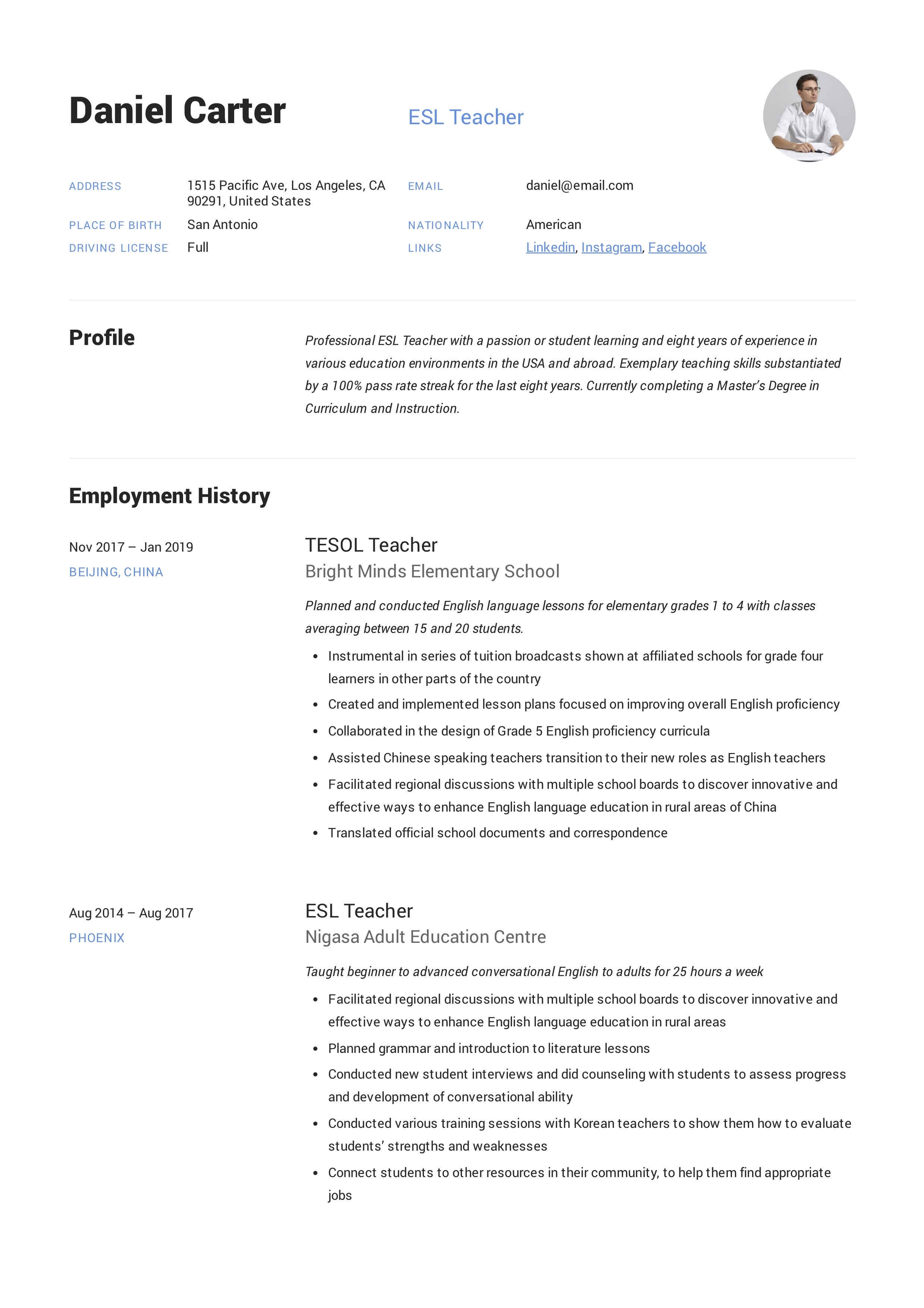 esl teacher resume sample  u0026 writing guide