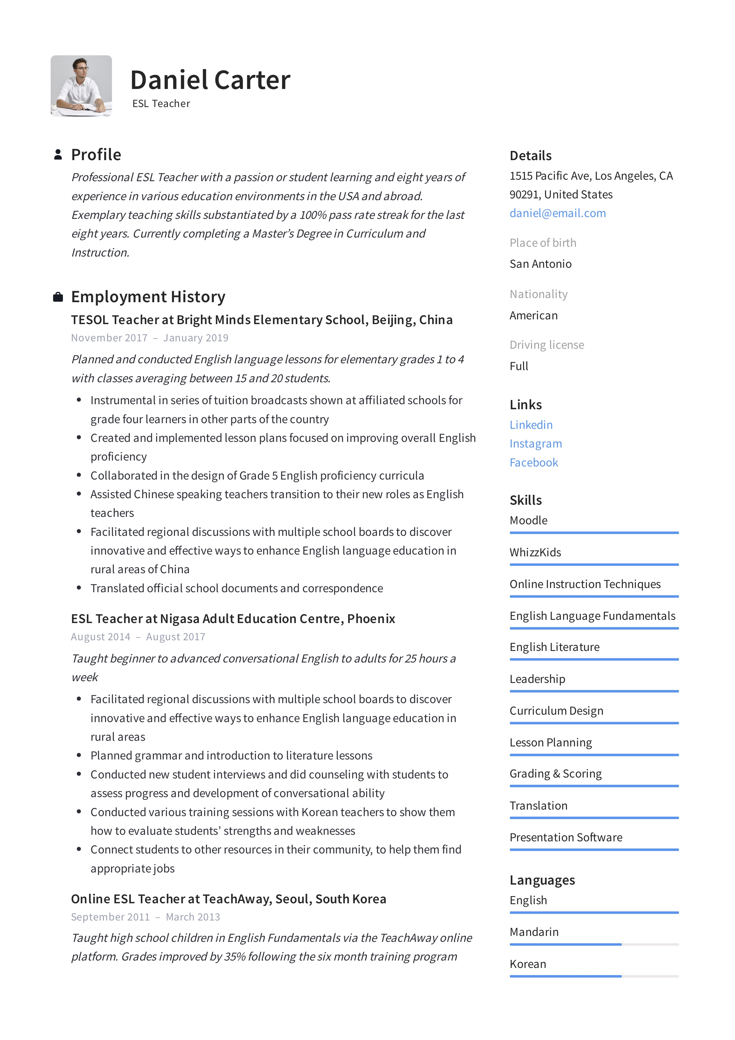 Esl Teacher Resume Sample Writing Guide Resumeviking Com