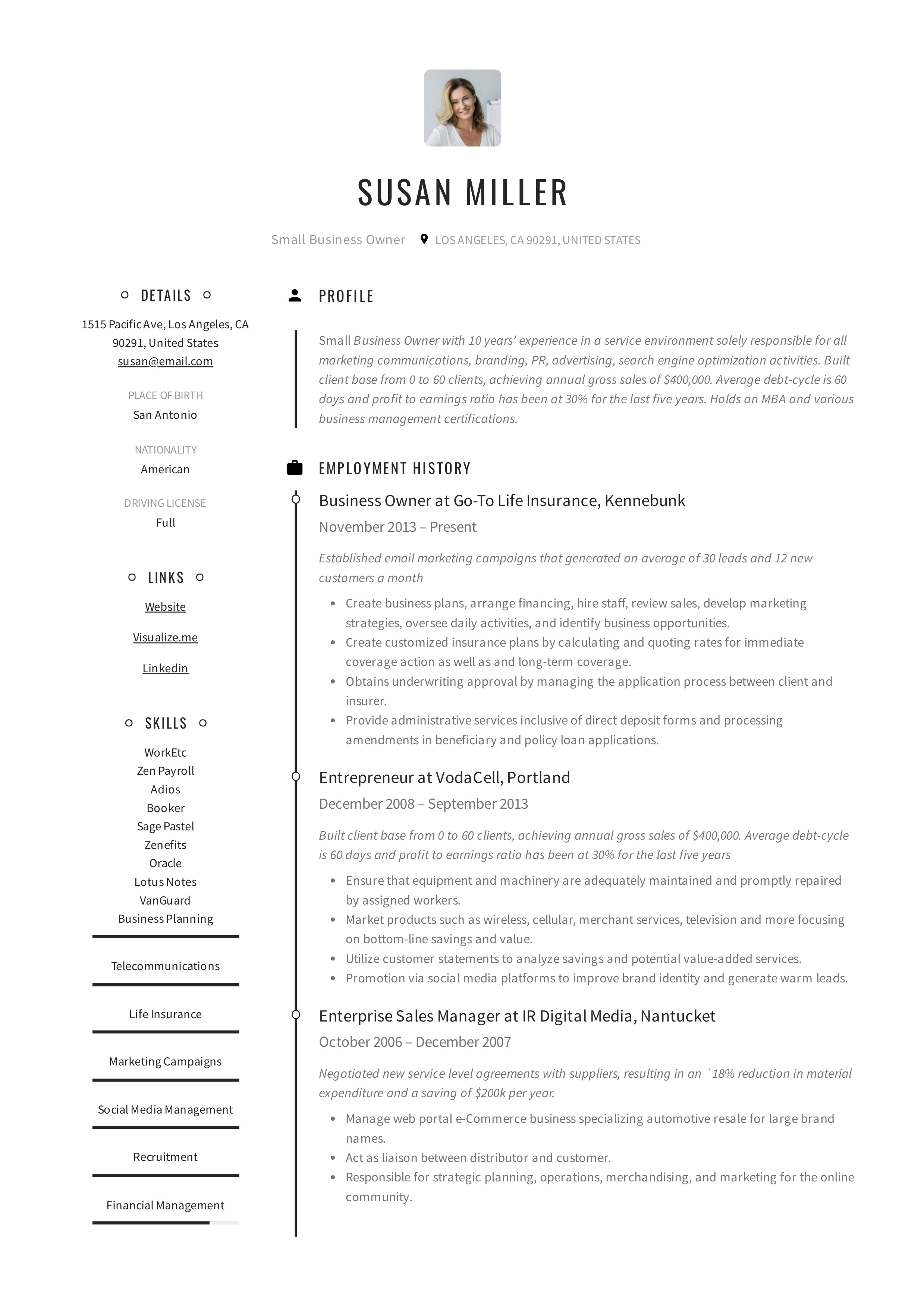 small business owner resume guide