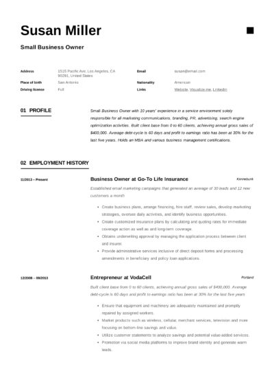Small Business Owner Example Resume