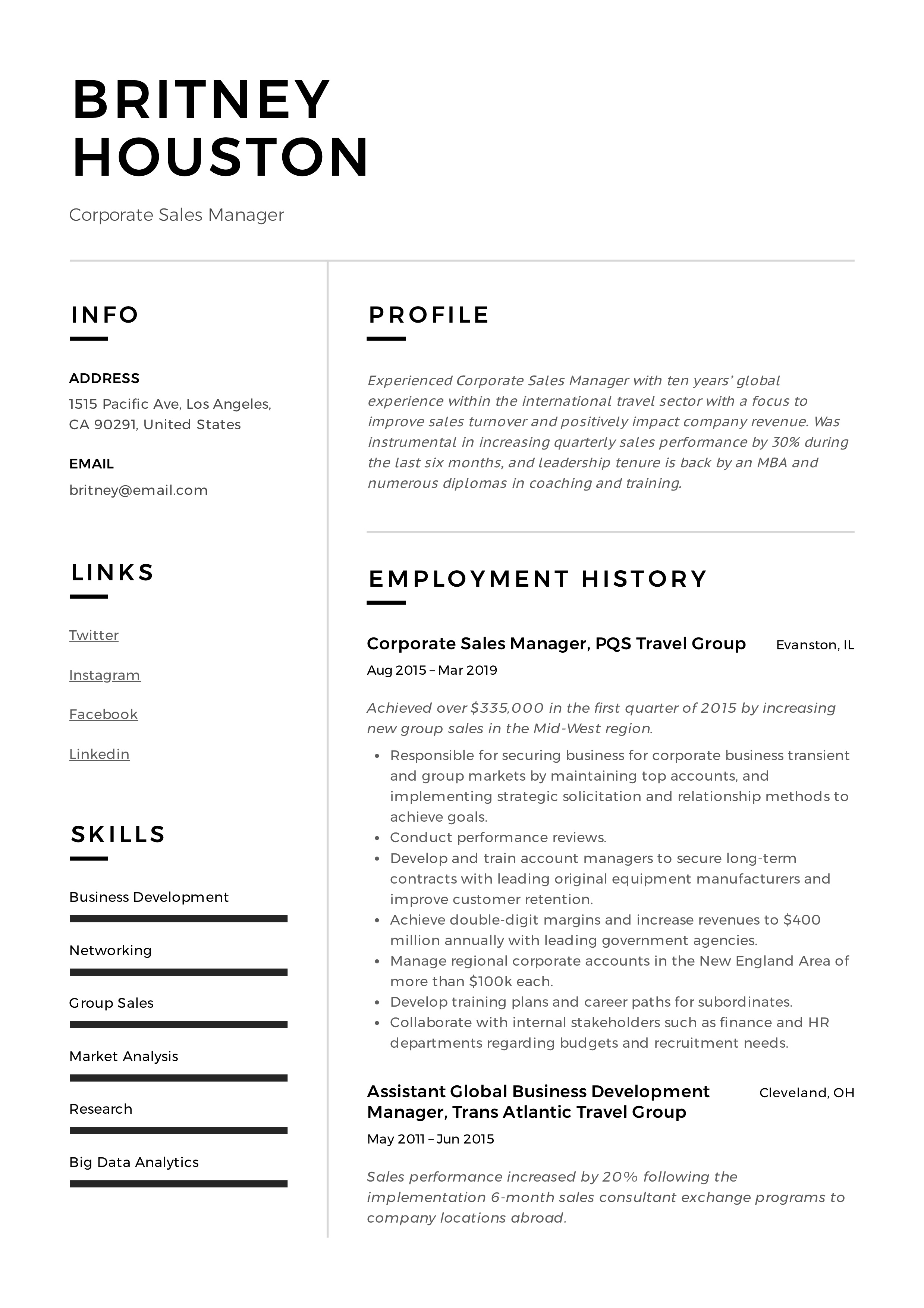 Corporate Sales Manager Modern Resume