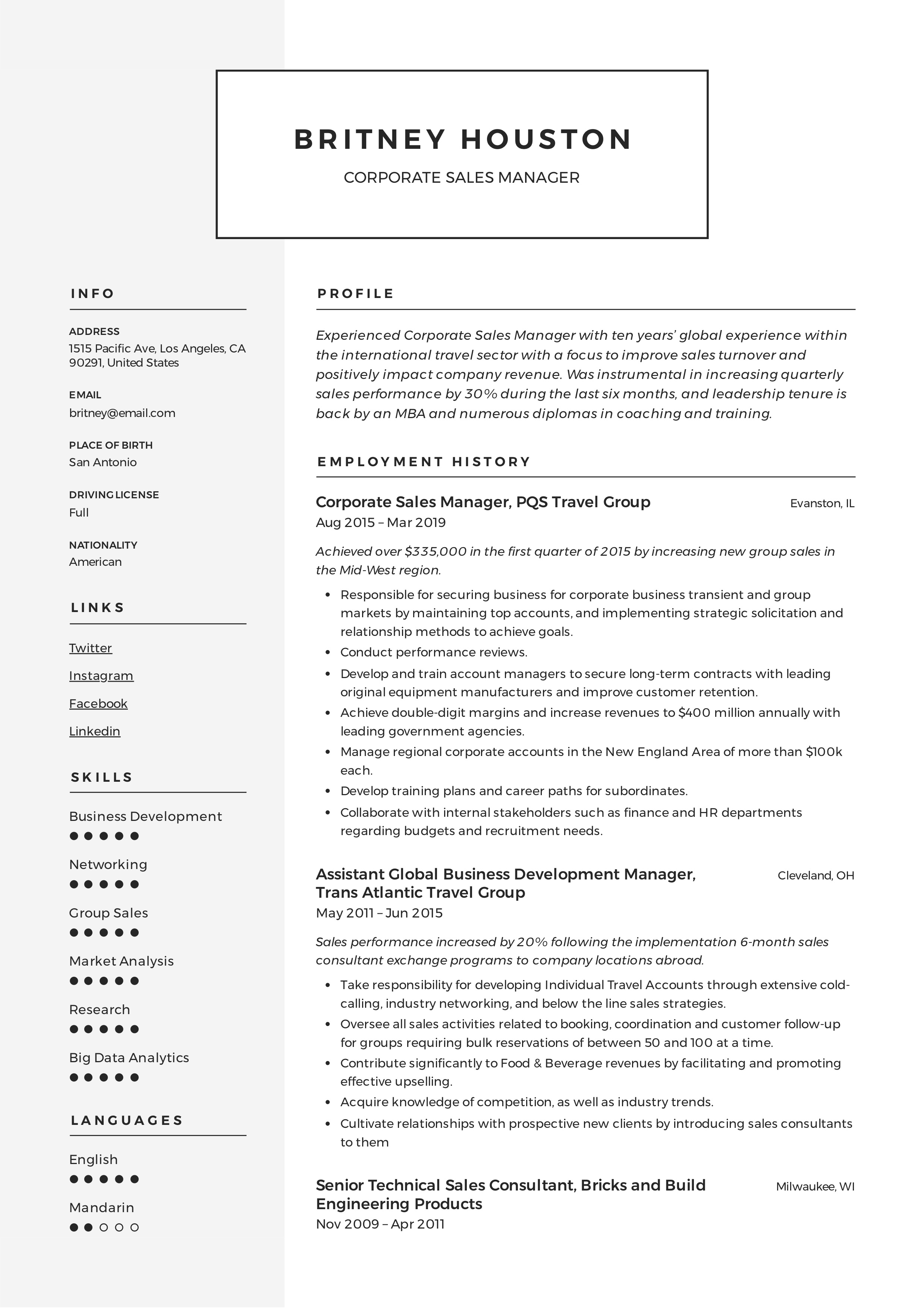 Corporate Sales Manager Resume
