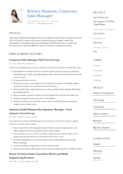 Corporate Sales Manager Resume Example