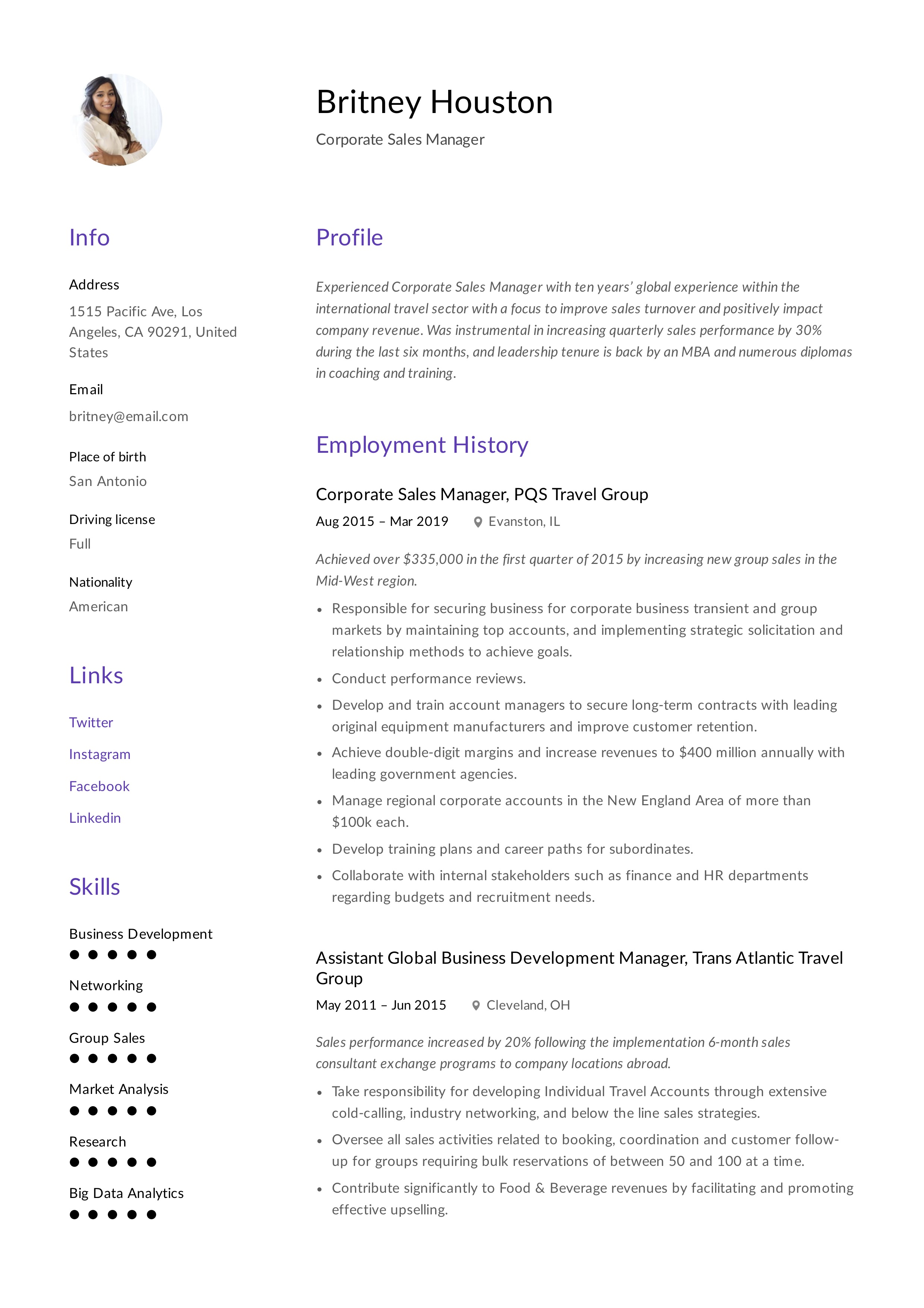 Minimal Deisgn Corporate Sales Manager Resume