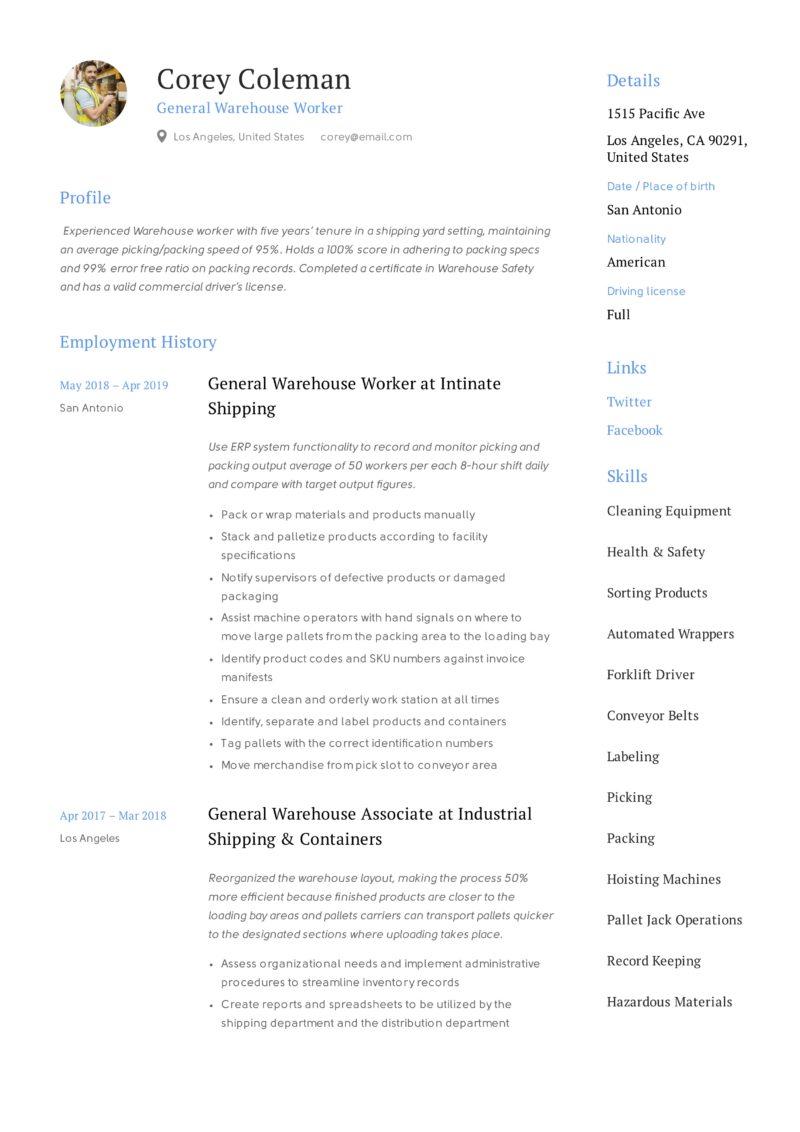 general warehouse worker resume guide