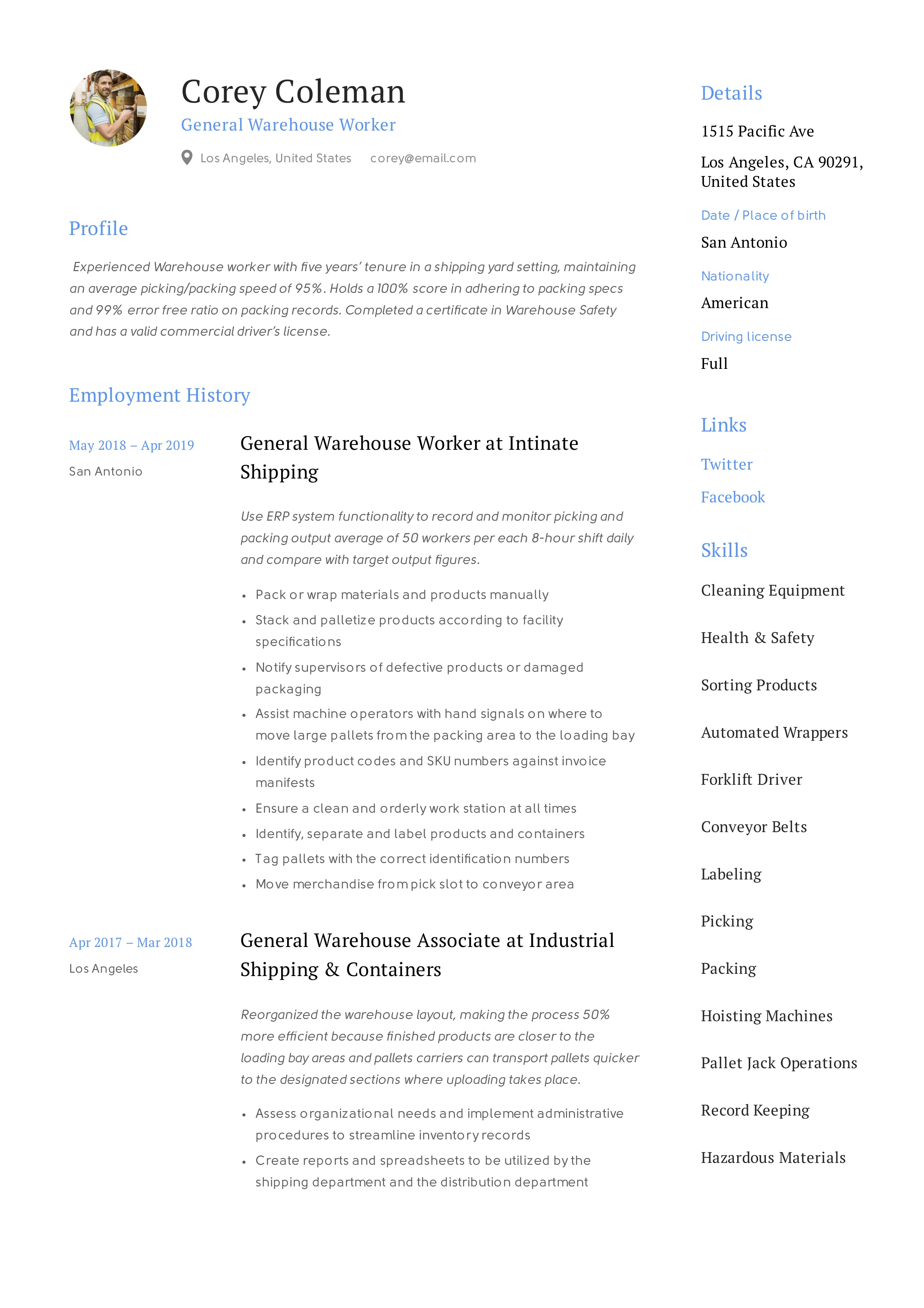 general warehouse worker resume guide
