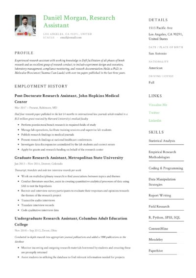 Research Assistant Example Resume