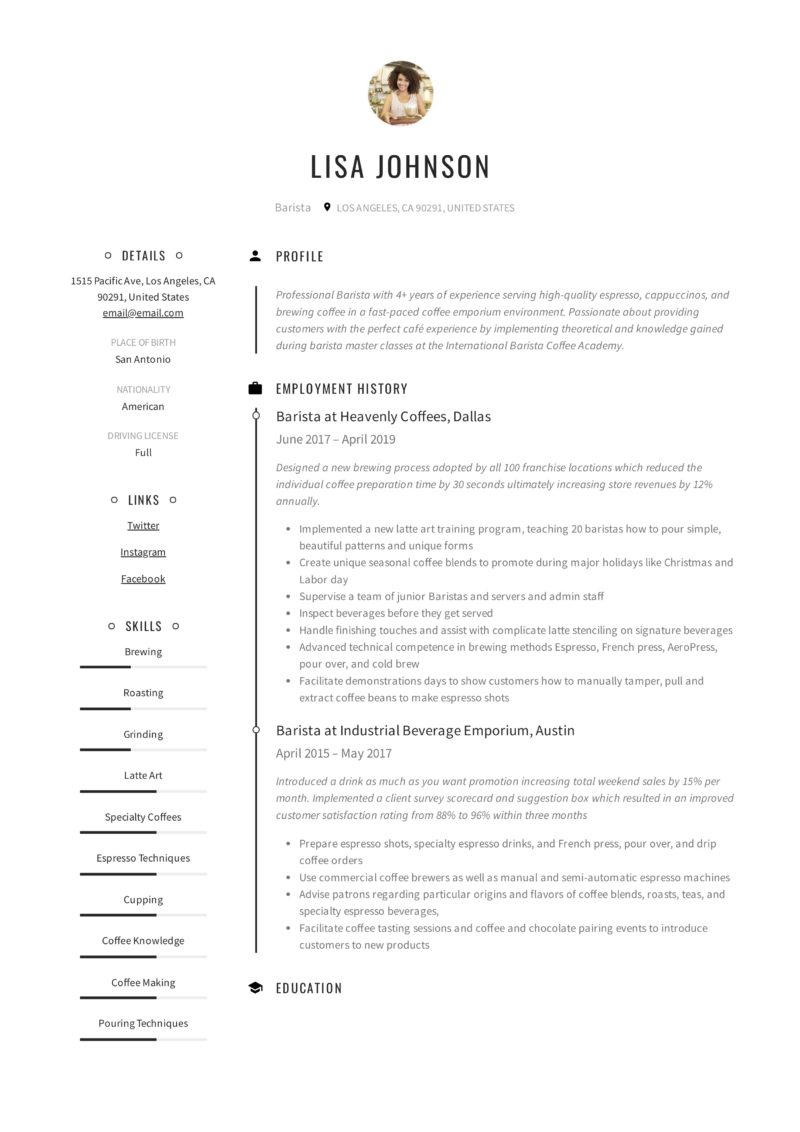 Creative Resume Sample Barista