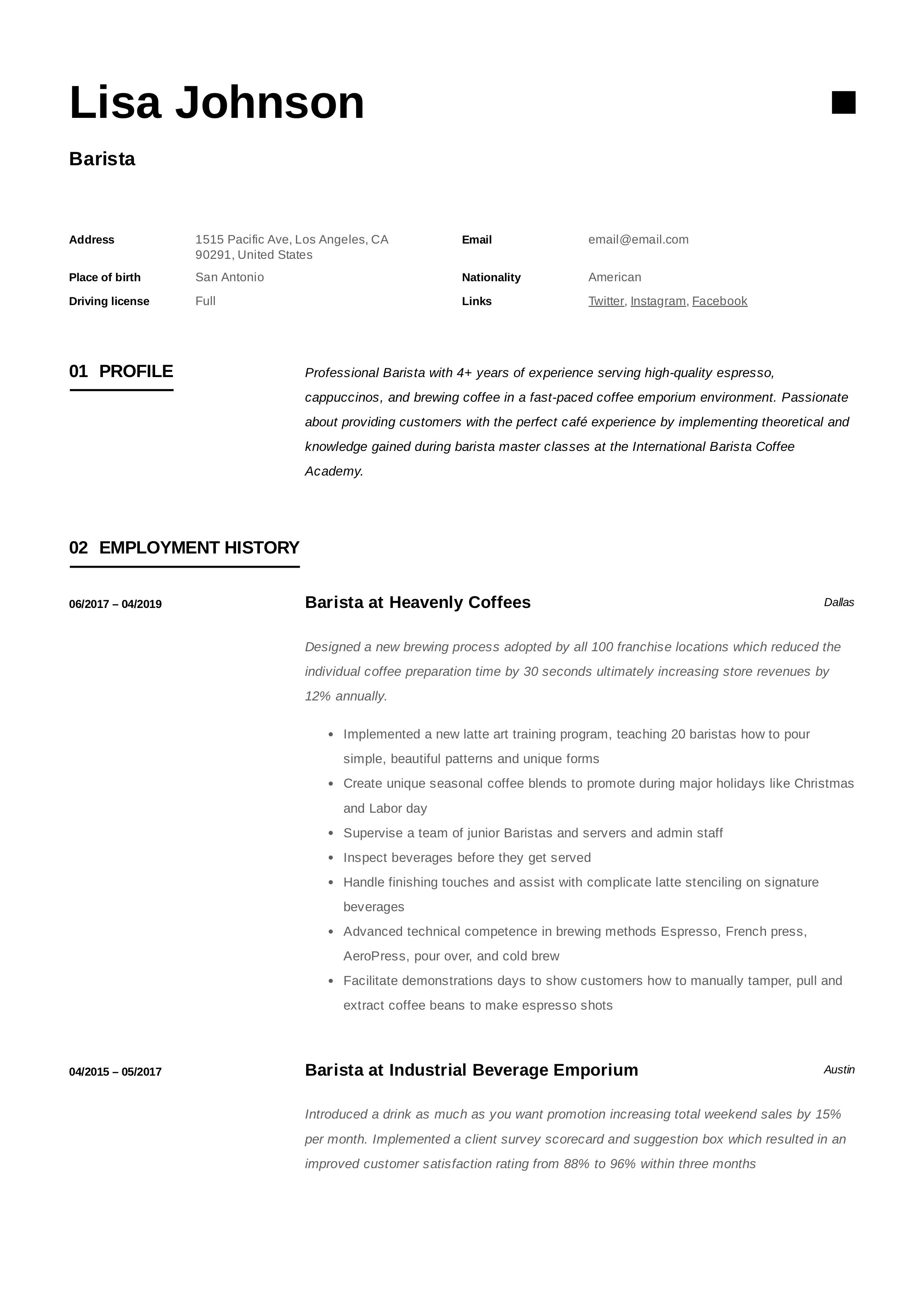 Barista Example Design Resume