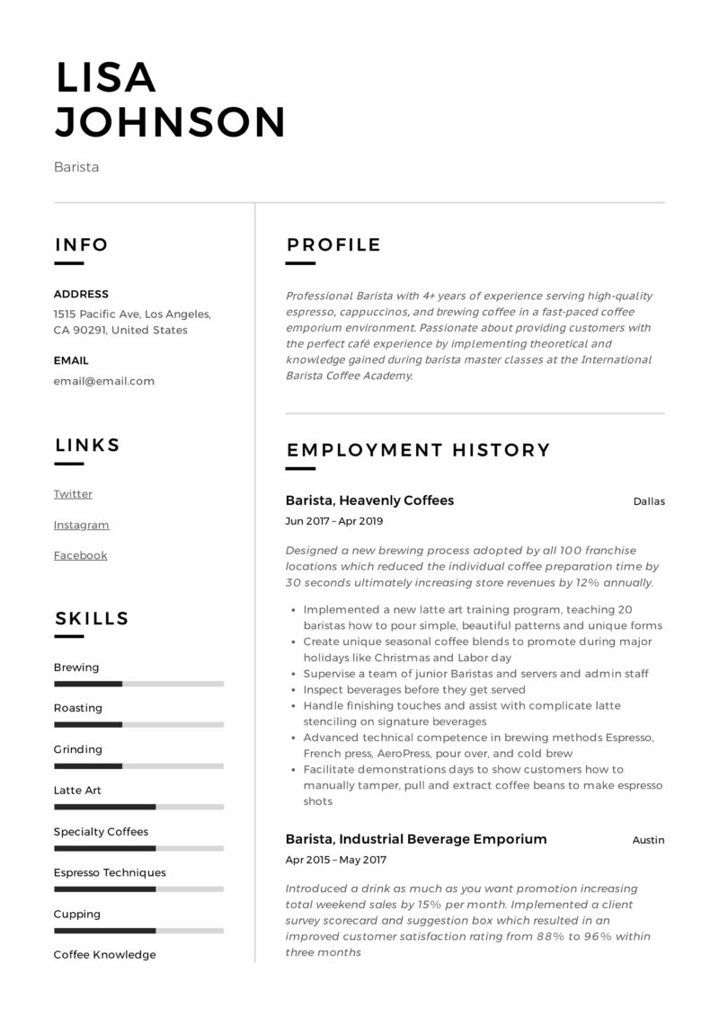 Barista Example Resume