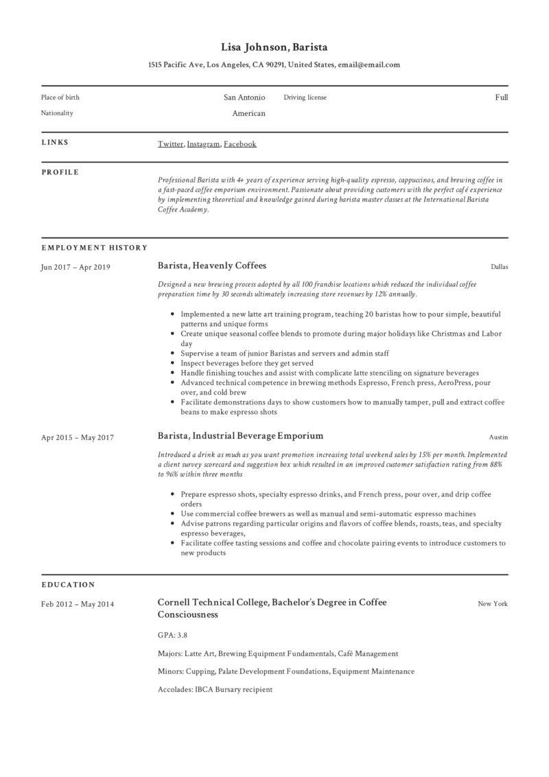 Creative Barista resume