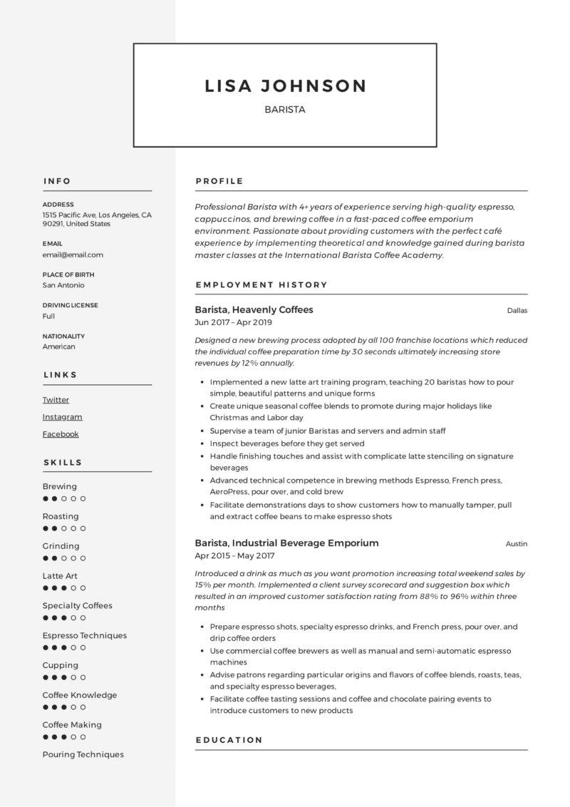 Modern Resume Barista