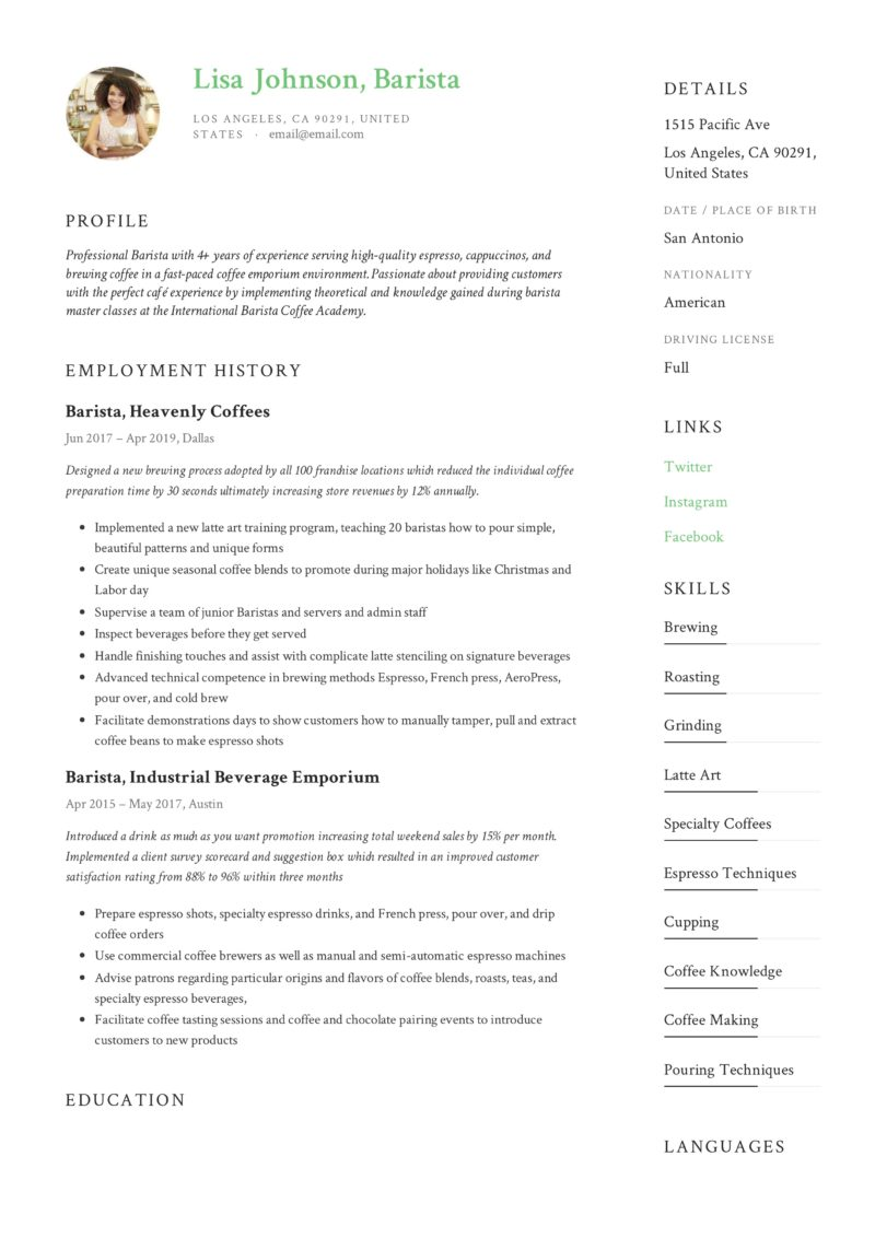 barista resume  u0026 writing guide
