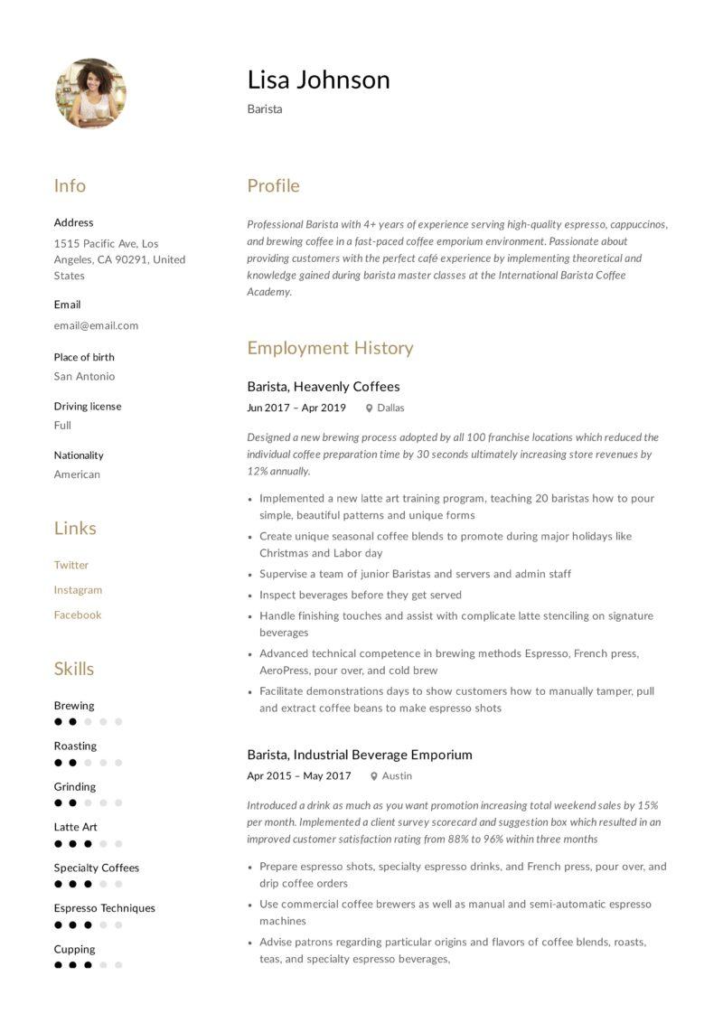 Barista Sample Resume