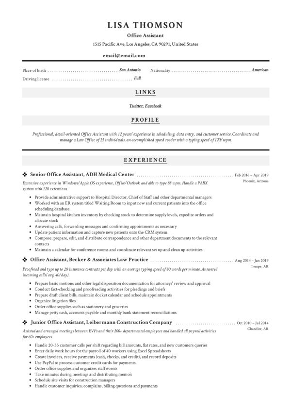New Classic Example Resume Office Assistant