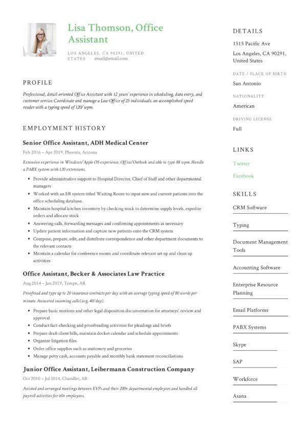 Design Sample Resume Office Assistant
