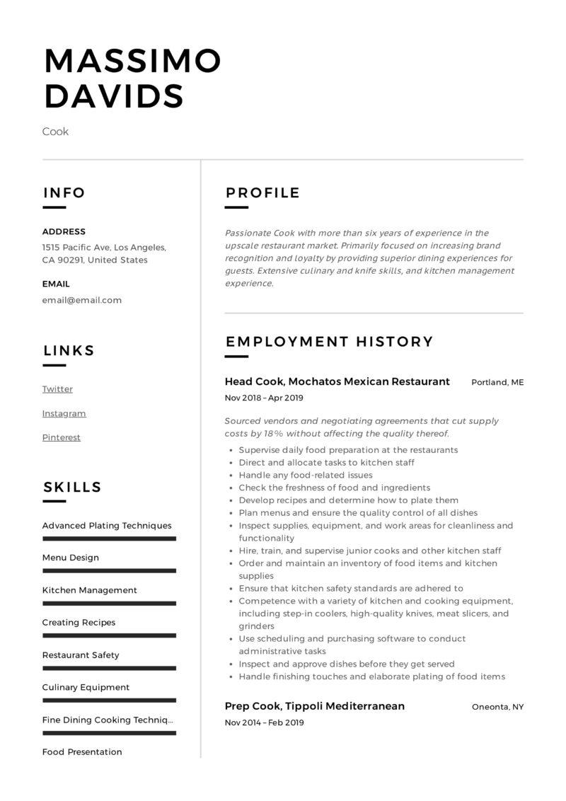 Modern Design Resume Example Cook