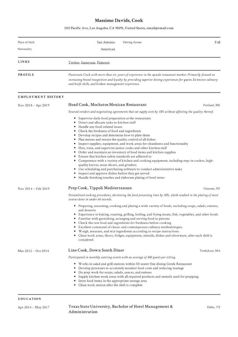 Cook Classic Resume Example