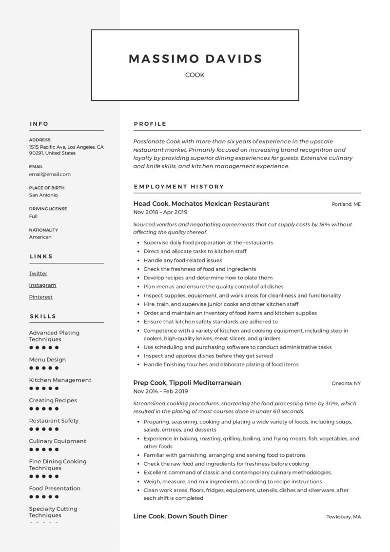 Modern Cook Resume Example