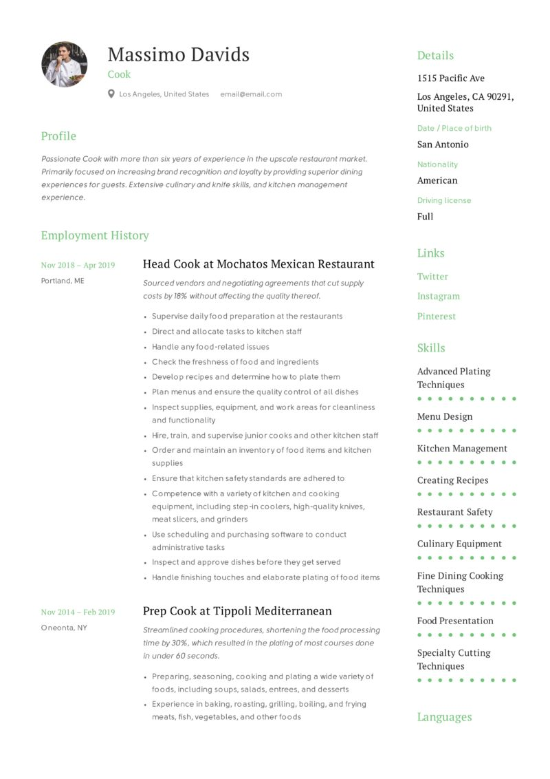 Resume Template Cook