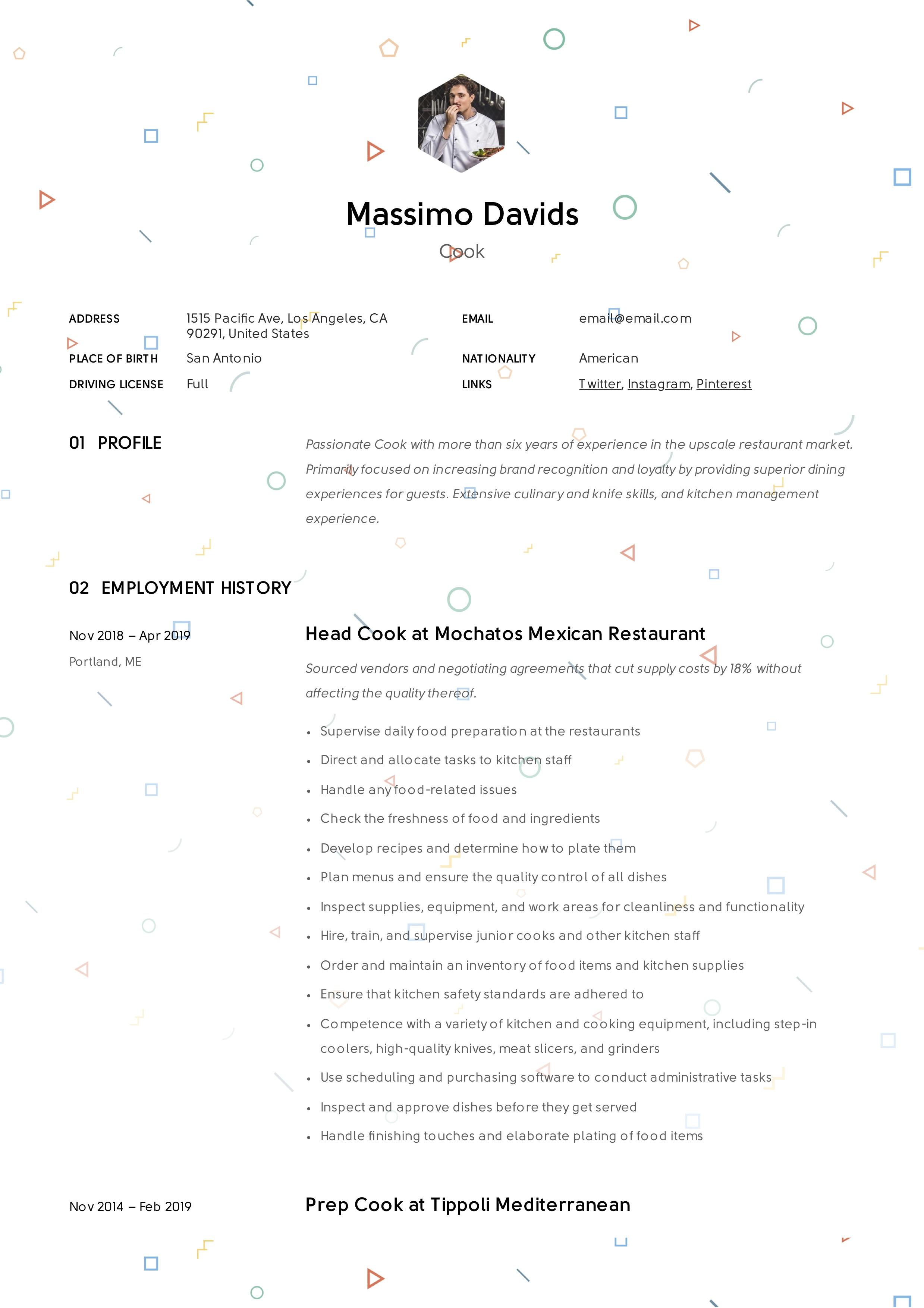 Creative Resume Cook